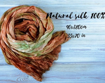 Brown green silk scarf Hand painted gift for wife - birthday gift for mom - women scarf handmade