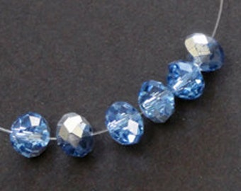 24pc - 4mm Thunder Polish Faceted Light Sapphire Blue Half Silver Crystal Rondelle Spacer Beads