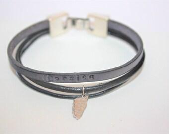 "Men's leather ""Corsica"" trio of grey & Black Leather Bracelet"