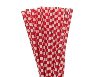 Paper Straws, Red Checkered Paper Straws, BBQ Paper Goods, Checkered Picnic Party Supplies, Country Fair Paper Straws, Farm Party Decoration
