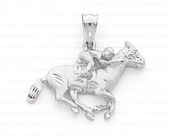 Sterling Silver Race Horse with Jockey Charm.