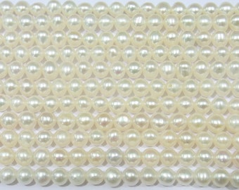 "Freshwater Pearl Beads Genuine Natural Pearl 4-5mm Offround White 15""L 5671 Wholesale Pearls"