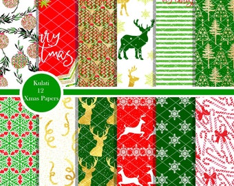 Instant Download - Colorful Christmas Digital Paper Backgrounds/Patterns, festive digital papers, Christmas Paper Pack, Winter Paper Pack