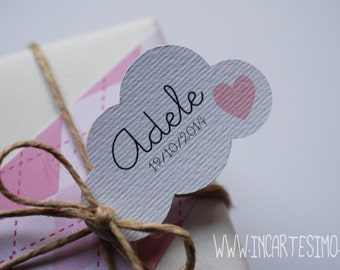 Clouds tags or baby shower tags, set of 30