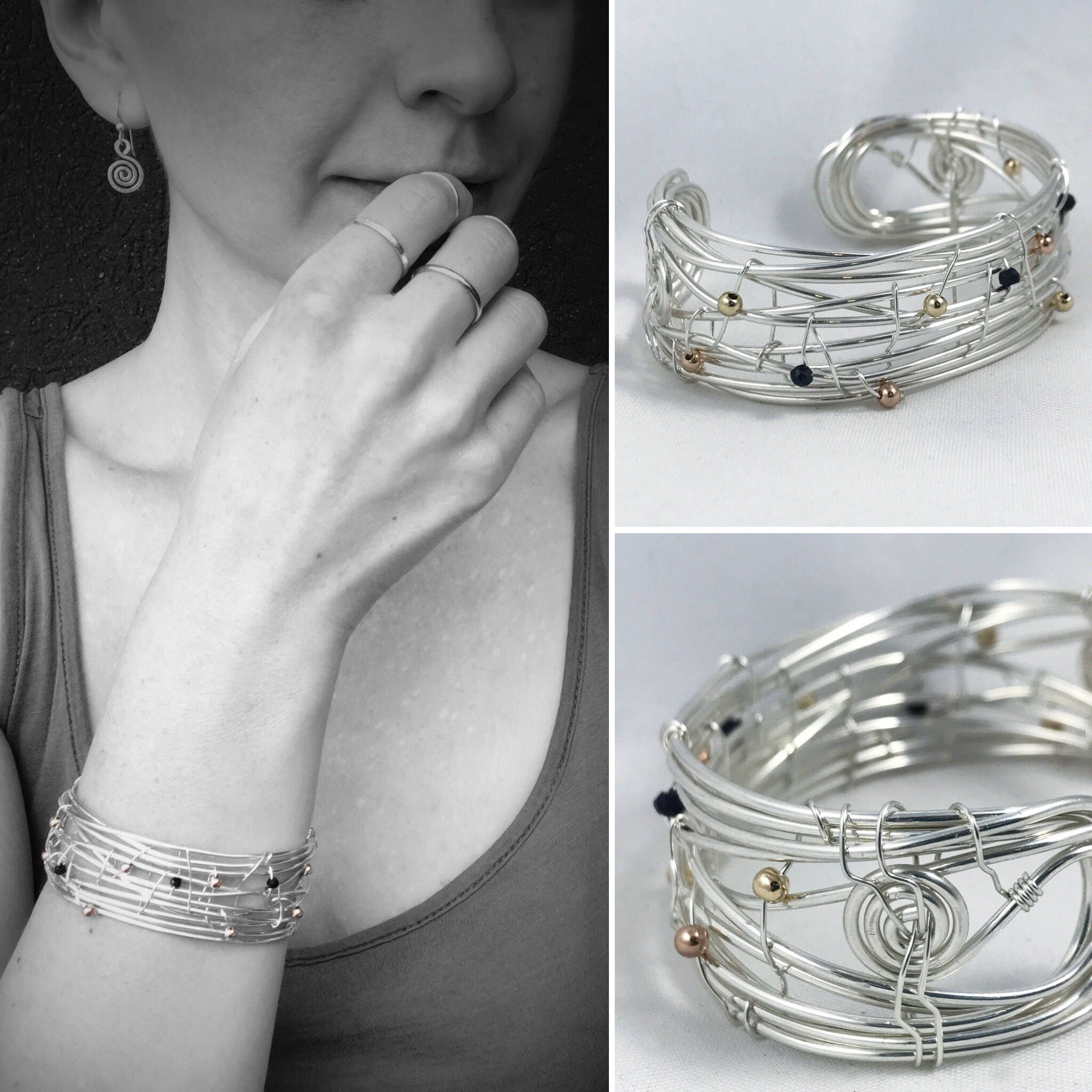 Woven Sterling Silver Cuff Bracelet - Free form Statement Cuff ...