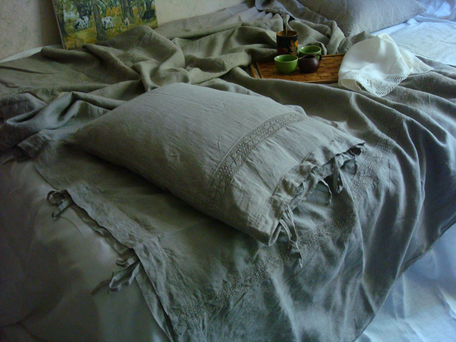 gray country grey duvet rustic ties cover bow with medium linen