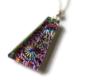 Mosaic Glass Pendant, Kaleidoscope Galaxy Constellation Necklace, Sterling Silver Necklace, Fireworks Necklace, 3D Necklace, Micro Mosaic