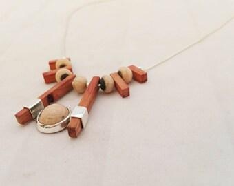 "Necklace collection ""RAKU / Rosewood"", model ""cabochon horse"", Choker, Silver Ceramic wood"