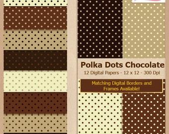 Digital Scrapbook Paper Pack - CHOCOLATE POLKA DOTS - Instant Download