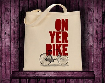 100% cotton tote bag with On Yer Bike Fun  Print shopping bridal library