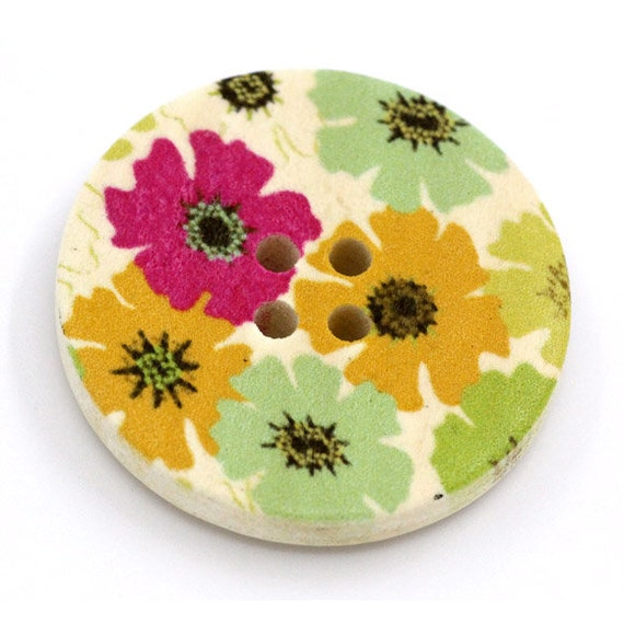 BBR30282 - 6 round buttons with colorful wooden 30 mm