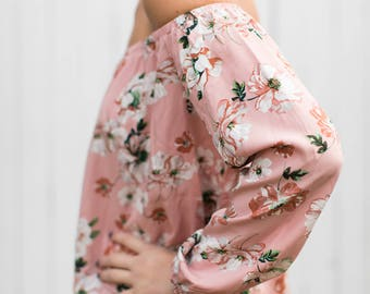 Alice Off the Shoulder Blouse (Blush) - OTS Pink Floral blouse with elastic at the top and wrist