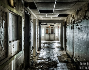 Abandoned Hospital Wing Hallway.  Urbex, urban decay photography