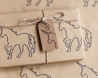 Handprinted Unicorn Wrapping Paper, Including 1 x Gift wrap, 2 x Gift Tags & Twine.