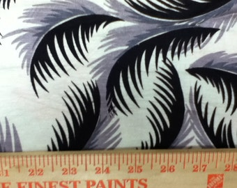 Feathers on Warm White Rayon Spandex Knit Fabric