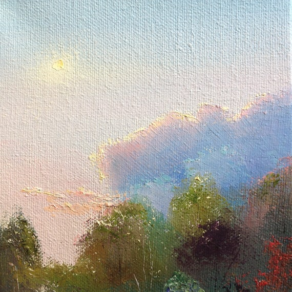 Sky Painting, Small Oil Painting,  Pastel Landscape, Country Rustic Art