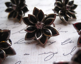 Rhinestone Flower Push Pins 6pcs Black Rhinestone Flower Thumbtack Set...  Housewarming Gifts, Hostess Gifts, Wedding Favors