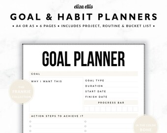 GOAL PLANNERS / Habit Tracker / 2018 Planner / Project Planner / Routine Chart / Checklist / Goals / The Frankie Planners in Bone / 423