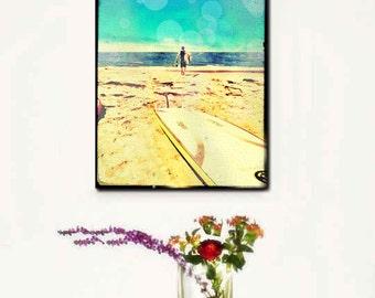 Surfing Canvas Wall Art Large, Surfer Canvas Art, Retro Beach Wall Art, Surfing Decor, Large Canvas California Art