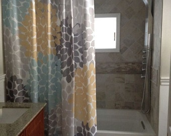 Shower Curtain In Custom Yellow Blue And Gray Floral Lengths 70 74 78 84 Or 96 Inches Lets Make One Your Colors