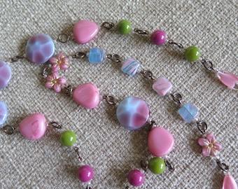 pink necklace, pink and green necklace, pink and periwinkle necklace, flower necklace, floral necklace, very long necklace, spring necklace