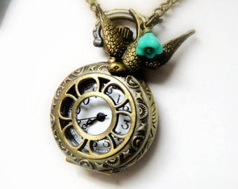 Pocket Watch Necklace - Steampunk Pocket Watch Necklace - Spring Necklacd - Gift for Her - Pocket Watch For Girls - Spring Jewelry