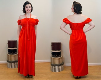 1970s Maxi Dress - Empire Waisted Orange Velour - 1969 Style Seen at Woodstock!