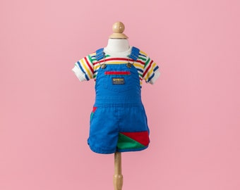 Vintage Color Block Osh Kosh Short-Alls/Top Set (Size 6 Months)