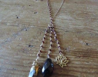Garnet & 14k gold filled necklace