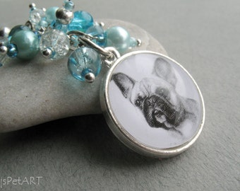 French Bulldog Beaded Key Ring, Pet Portrait Keychain, French Bulldog Keychain, Dog Owner Gift, Pet Memorial Gift, Boho Keychain