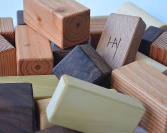 Wooden HAY kids building blocks. All natural,  sanded with smooth edges finished with mineral oil. By Bruce Hay.