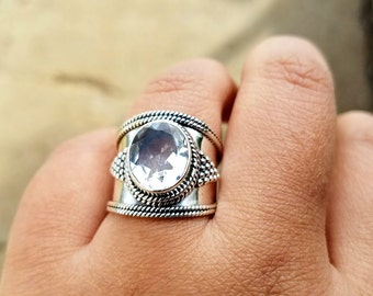 White Topaz Ring - April Birthstone Ring - Gypsy Ring -  Boho Ring - Clear Crystal Ring - Nepalese Tibetan Jewelry- Topaz Jewelry