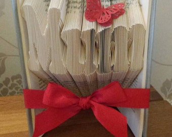 Mum Book Fold, Mother's Day Gift, Recycled Book, Gift For Mum, Mum Christmas, Mum Birthday, Folded Book Art, Paper Sculpture, Origami