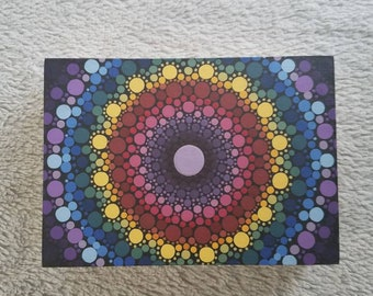Mandala Dot Art Original Painting Vibrant Rainbow Colors 5x7 Cradled Wood Panel Pointilism Dotilism