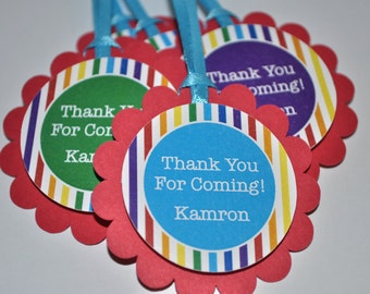 Rainbow Birthday Party Favor Tags - Rainbow Birthday Party Decorations - Rainbow Stripe - Personalized Thank You Tags - Set of 12
