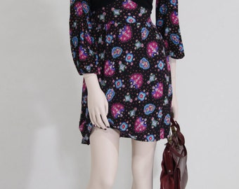 Dress / 1970s / boho / vintage flower print high waist / long sleeve / / size S / UK 8-10