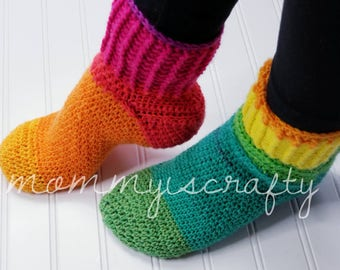 PATTERN- Crochet Slippers for Women- Rainbow Cozy Slipper Socks - Women - All sizes - Slippers - Crochet - MommyIsCrafty