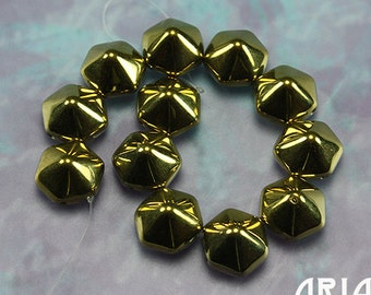 CRYSTAL AMBER: 12mm Czech Glass Pyramid Hex Two Hole Bead (12 beads)