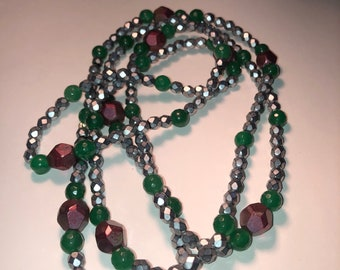 Silver Green Cranberry Bead Necklace