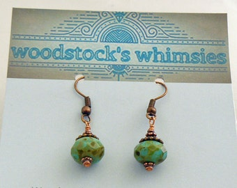 Antique Copper and Picasso Bead Earrings