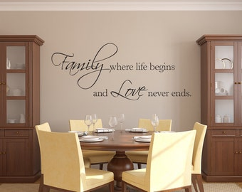 Family Wall Decal   Family Where Life Begins And Love Never Ends Wall Decal    Quote