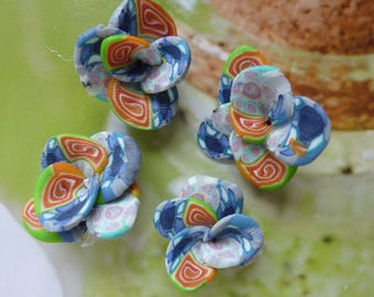 SET OF 2 SMALL FLOWERS MULTICOLORED POLYMER CLAY CREATION
