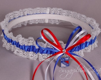 New York Rangers Lace Wedding Garter - Ready to Ship