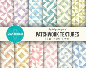 Digital paper set - PATCHWORK textures, 12 hi-res jpegs, scrapbooking paper for print, printable patterns