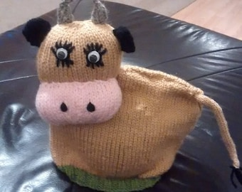 Hand knitted Jersey cow tea cosy