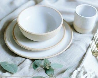 Handmade Pottery Dishes White Plate Settings With Unglazed Rim Pottery Stoneware Ceramic Dinnerware Sets & Ceramic dinnerware | Etsy