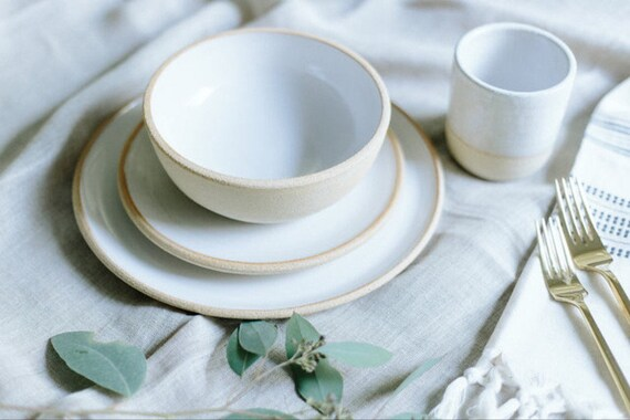 & Handmade Pottery Dishes White Plate Settings With Unglazed