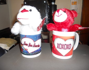 coffee cup with choice of stuffed animal