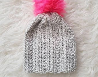 Sale - 1-3 Years Slouchy Pom Pom Toque - Light gray and white mix | CLEARANCE