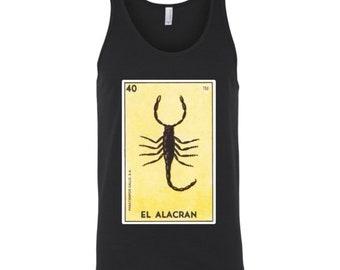 El Alacran Card Loteria Tank Top Scorpion Mexican Bingo